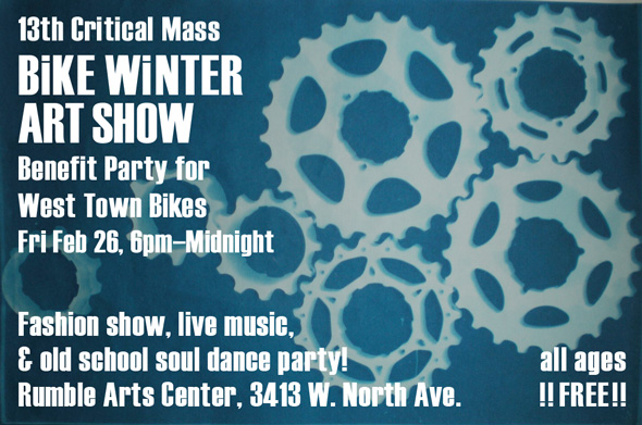 13th Critical Mass Bike Winter Art Show 2010, Feb 26 at Rumble Arts Center. Image: Becky Welbes [cogs]