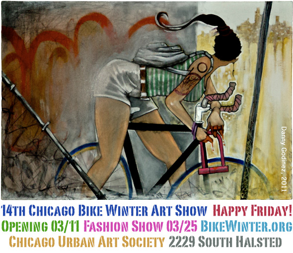 14th Bike Winter Art Show, Mar 11 - 25, 2011 at Chicago Urban Art Society. Image: Danny Godinez, 2011
